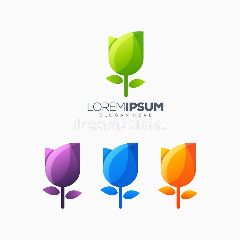 Illustration colorée de vecteur de conception de logo de tulipe illustration stock