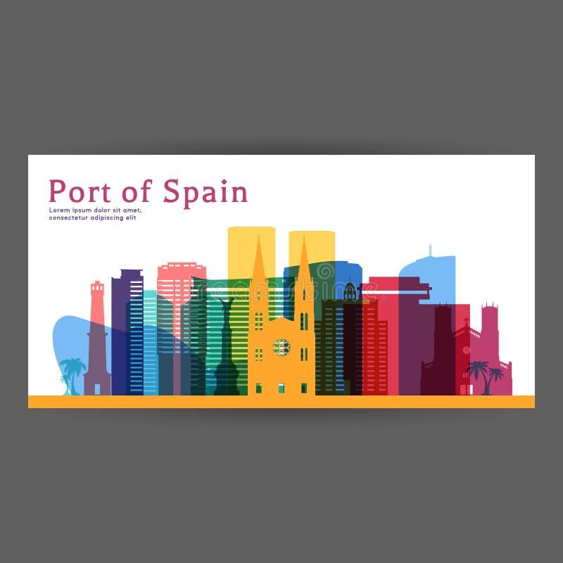 Illustration colorée de vecteur d'architecture de Port-d'Espagne illustration de vecteur