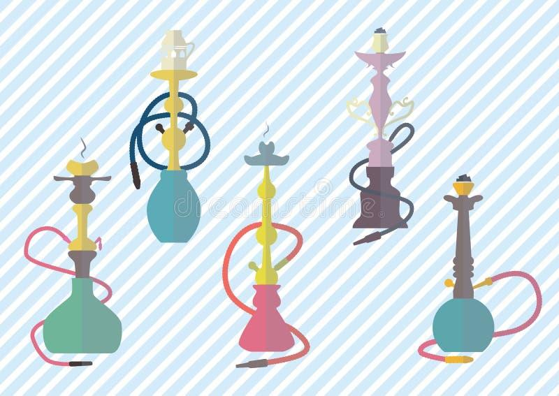 Illustration colorée de vecteur d'ensemble d'icônes de narguilé photos libres de droits