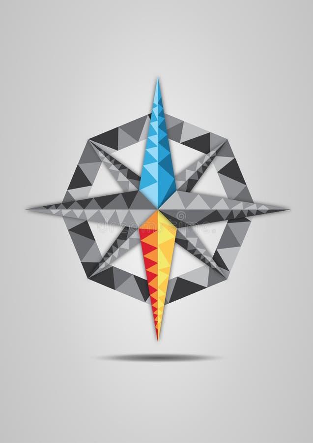 Illustration colorée de vecteur de boussole sur le fond gris illustration stock