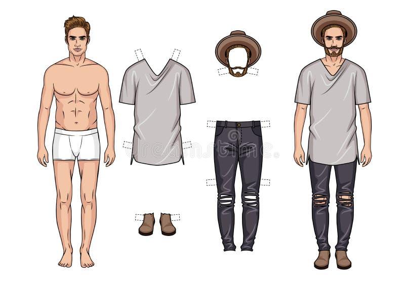 Illustration colorée de vecteur des équipements des hommes à la mode d'isolement dans le fond blanc illustration stock