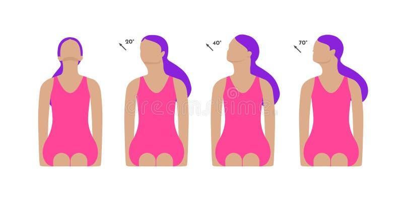 Illustration colorée de vecteur Exercices de cou par la fille pour détendre Travail avec la tête Position de cou de tour et de di illustration stock