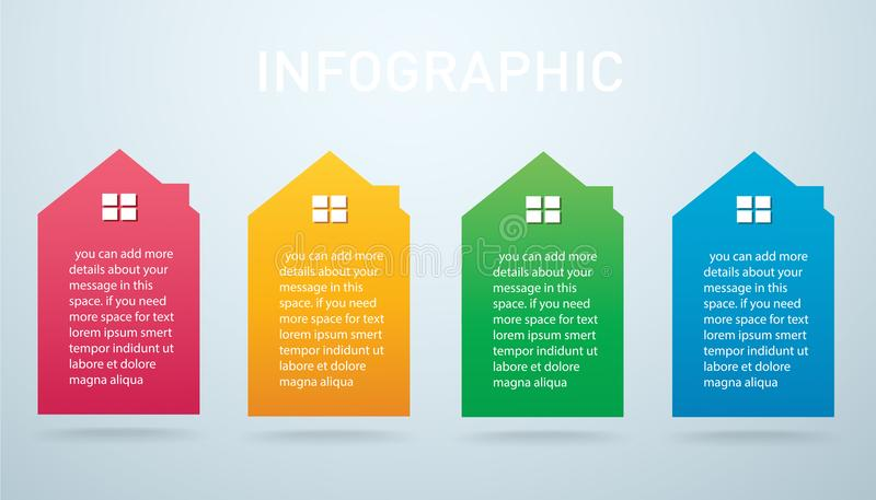 Illustration colorée de vecteur de fond d'options d'Infographic 4 de maison illustration stock