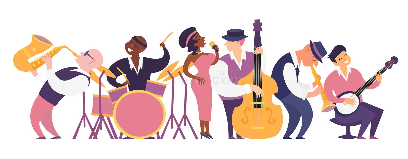 Illustration colorée de vecteur de jazz-band illustration de vecteur