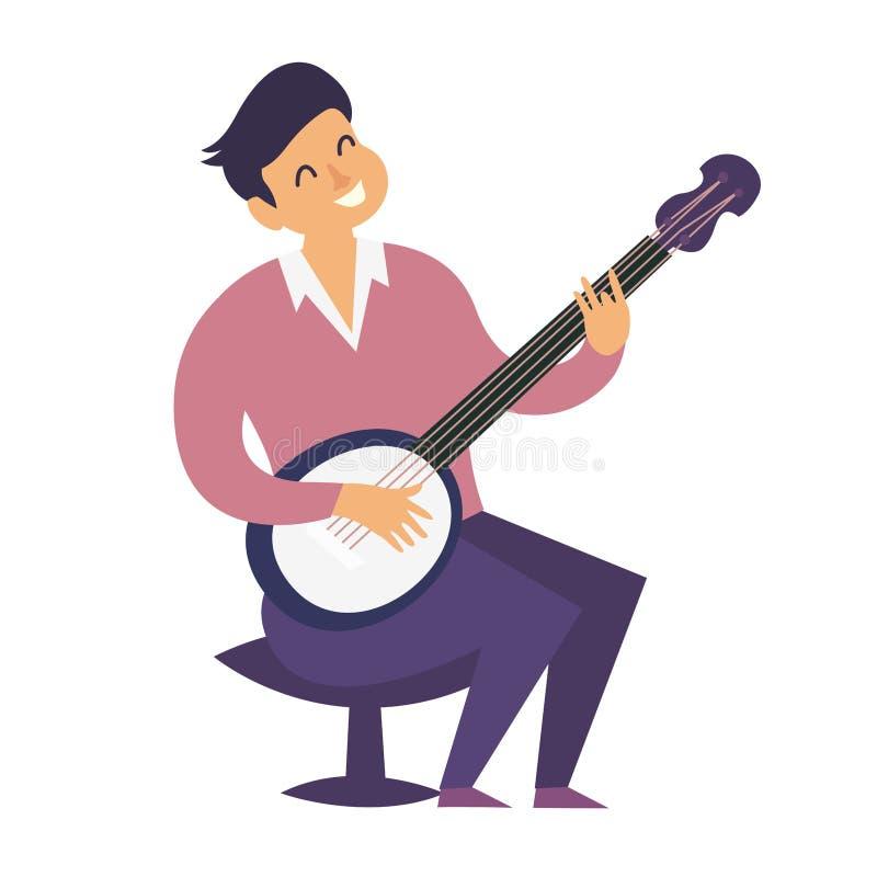 Illustration colorée de vecteur de joueur de banjo Style plat de bande dessinée de caractères de joueur de banjo illustration libre de droits