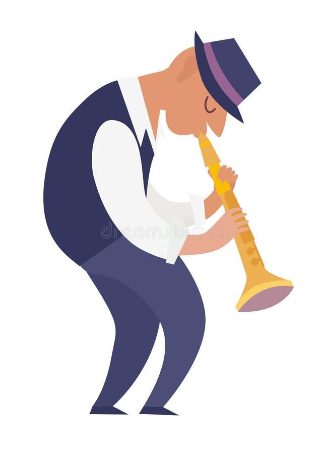 Illustration colorée de vecteur de joueur de clarinette illustration de vecteur