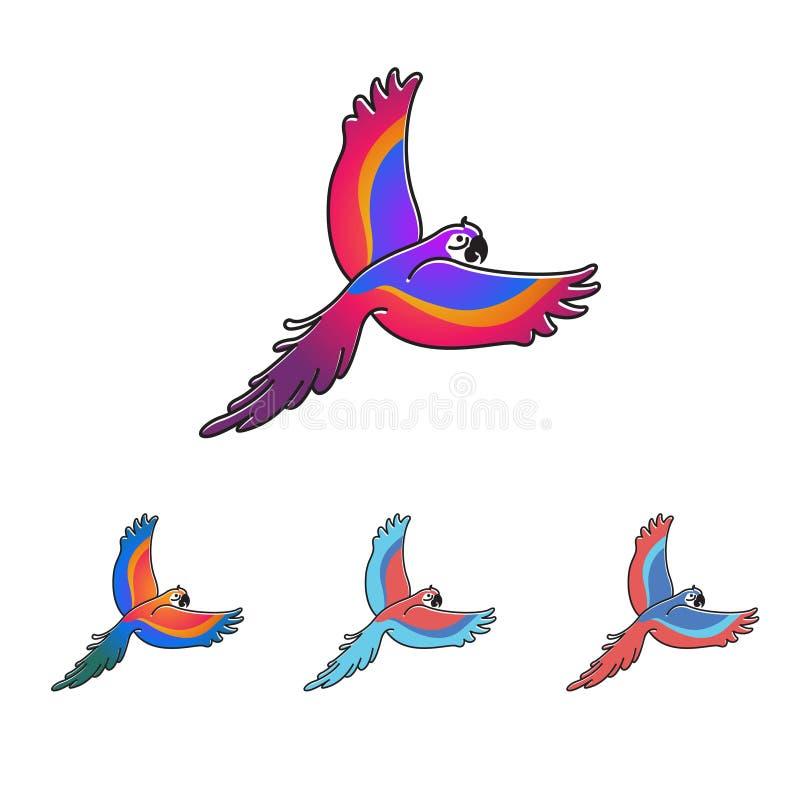 Illustration colorée de vecteur de vol d'oiseau de perroquet d'ara illustration libre de droits