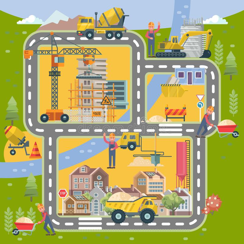 Illustration colorée plate de vecteur de construction avec la ville Affiche de bâtiment dans le style moderne illustration de vecteur