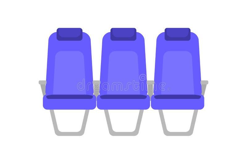 Illustration colorée plate de vecteur de siège bleu Sièges intérieurs d'avion de bande dessinée Chaises dans la carlingue de la c illustration stock