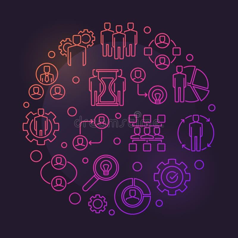 Illustration colorée ronde d'ensemble d'association de vecteur illustration de vecteur