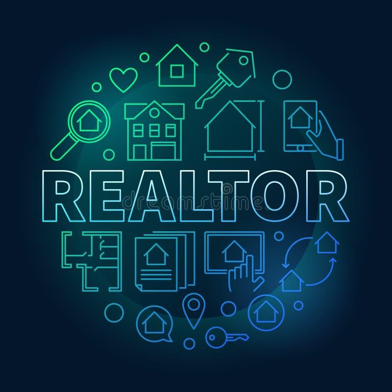 Illustration colorée ronde de vecteur d'agent immobilier dans le style d'ensemble illustration libre de droits