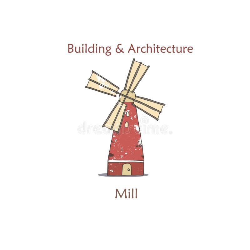 Illustration colorée rouge de vecteur de bannière de la publicité de moulin à vent dans le rétro style avec des textures grunges  illustration de vecteur