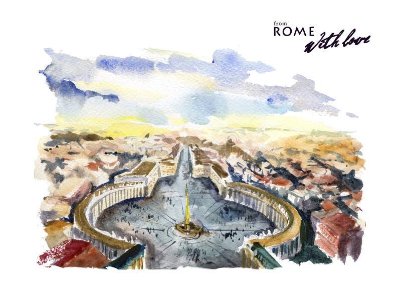 Illustration colorée tirée par la main d'aquarelle de Rome illustration de vecteur