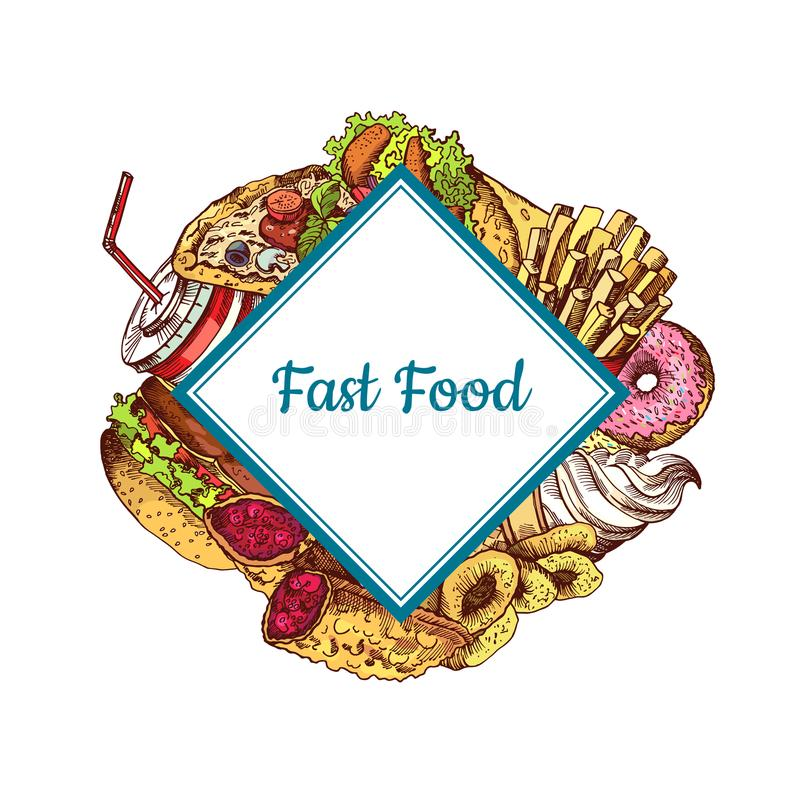 Illustration colorée tirée par la main i d'aliments de préparation rapide de vecteur illustration de vecteur