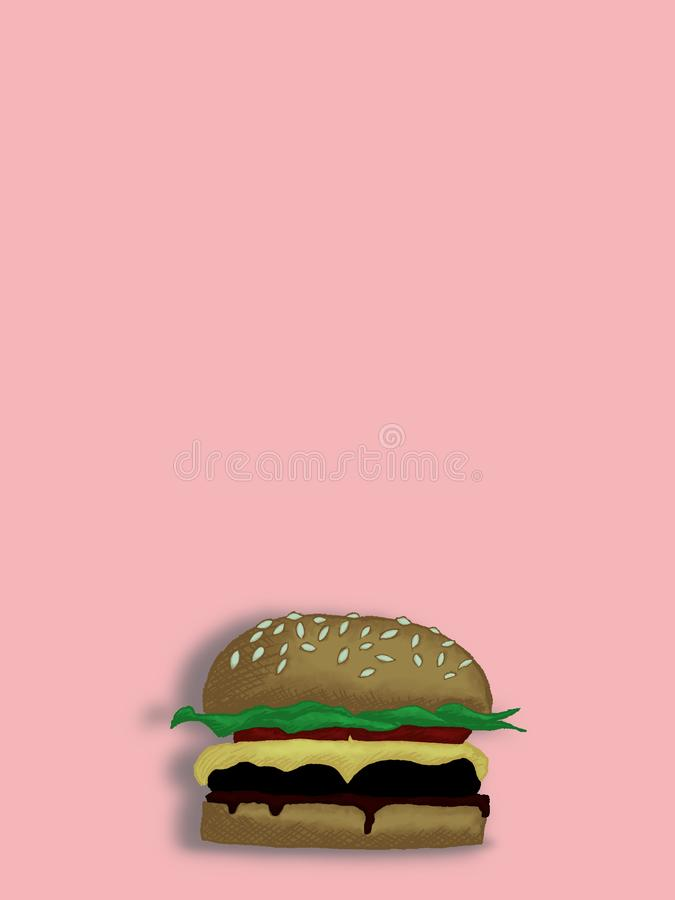 Illustration of a colored hand drawn burger on a pastel pink background stock photos
