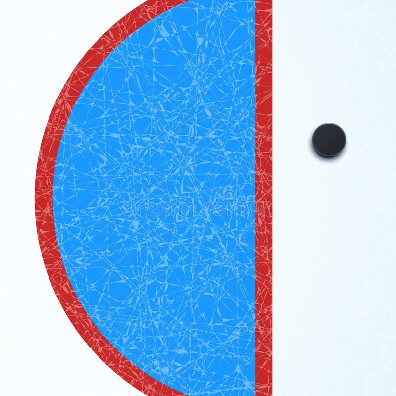 Hockey surface with puck stock illustration