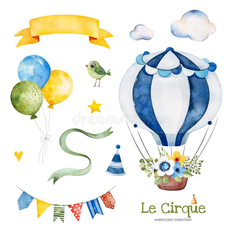 Illustration with colorful air ballon,bird,clouds,garland,ribbon banner,bouquet. Lovely circus set.Illustration with colorful air ballon,bird,clouds,garland royalty free illustration