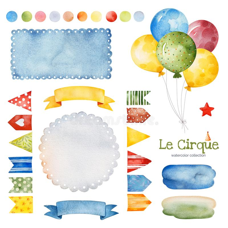 Illustration with colorful air ballons,bunting flags,ribbon banner,splashes and more. Lovely circus set.Illustration with colorful air ballons,bunting flags royalty free illustration