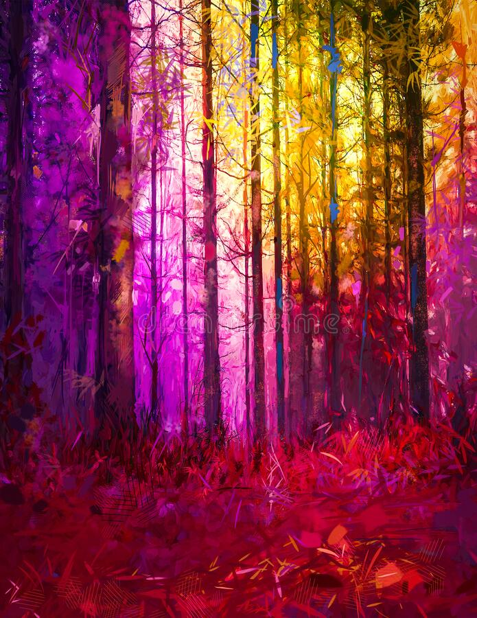Free Illustration Colorful Autumn Forest. Abstract Image Of Fall Season, Yellow And Red Leaf On Tree, Outdoor Landscape. Royalty Free Stock Image - 208023006
