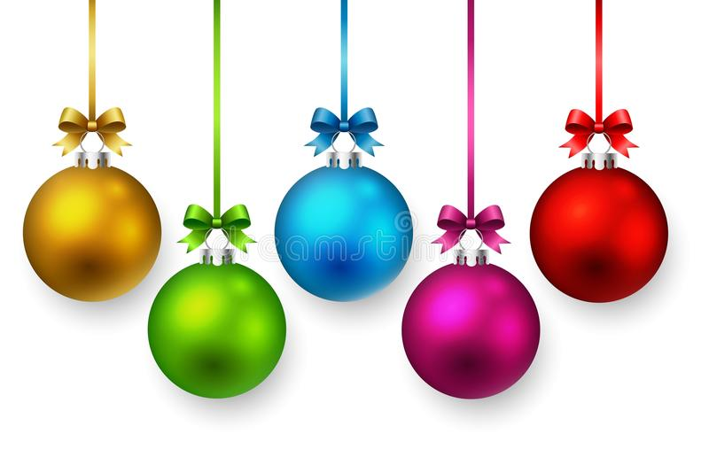 Colorful christmas ball and ribbons. stock photos