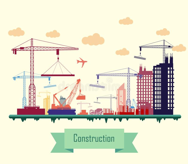 Colorful Construction Site. Illustration of Colorful Construction Site vector illustration