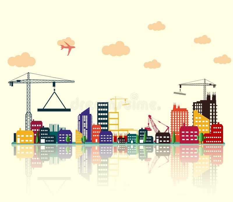 Colorful Construction Site. Illustration of Colorful Construction Site stock illustration