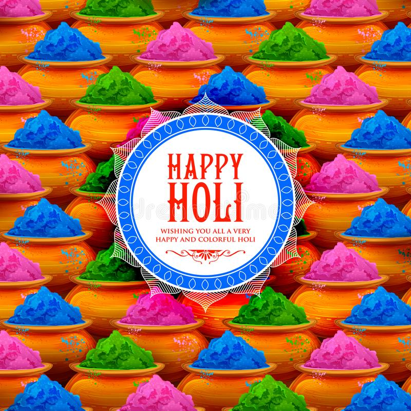 Powder color gulal for Happy Holi Background. Illustration of colorful gulal powder color in earthen bowl for Happy Holi Background royalty free illustration