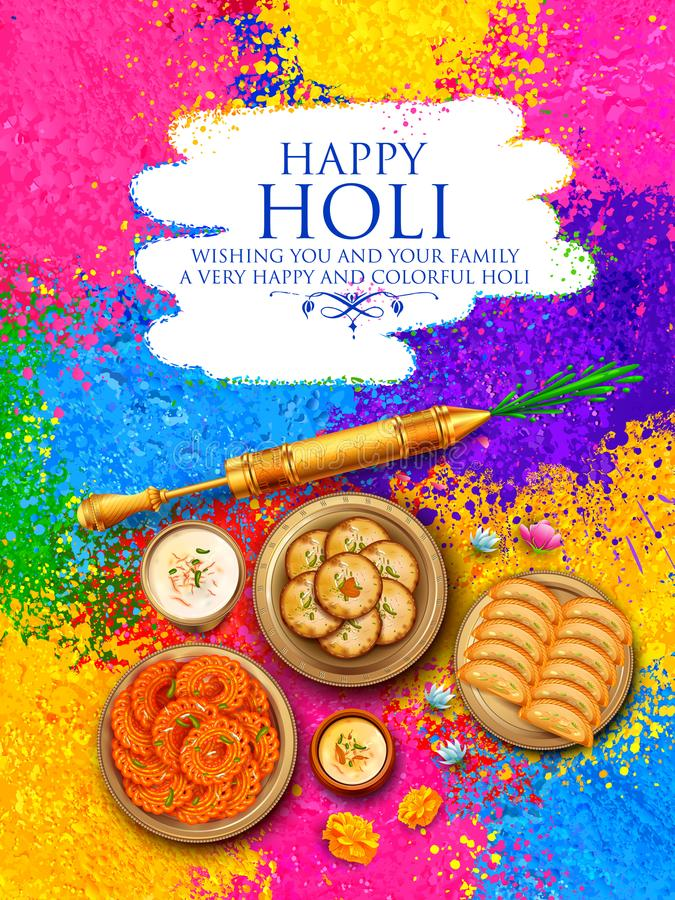 Powder color gulal for Happy Holi Background. Illustration of colorful gulal powder color in earthen bowl for Happy Holi Background vector illustration
