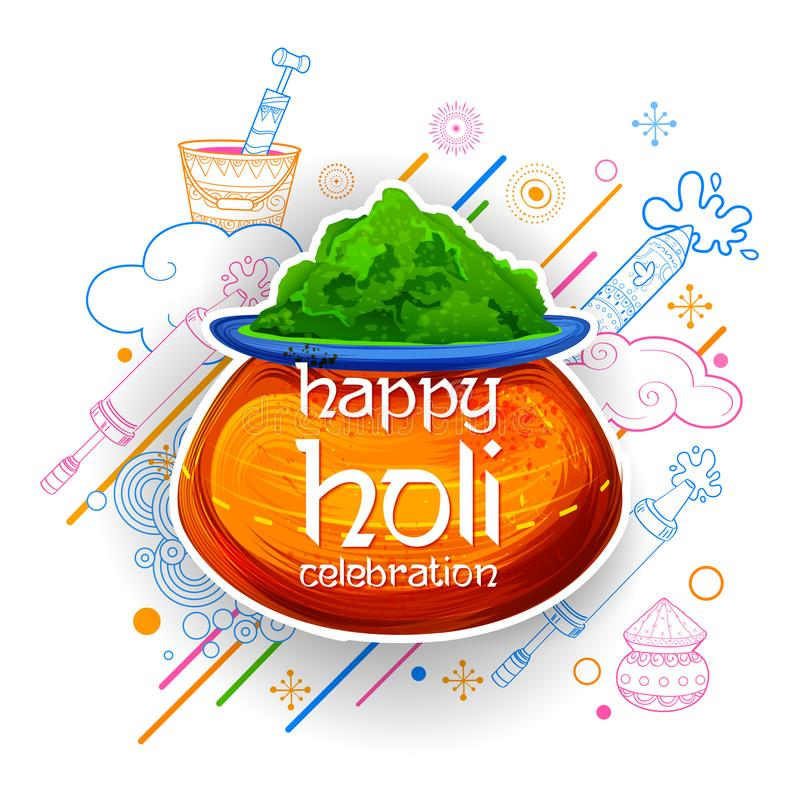 Powder color gulal for Happy Holi Background vector illustration