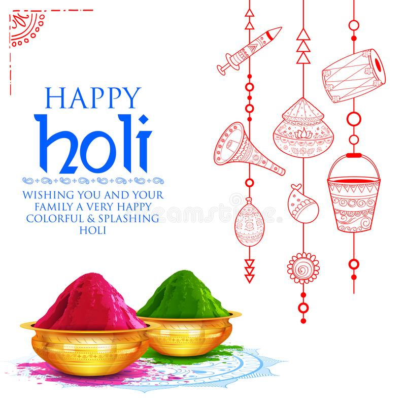 Powder color gulal for Happy Holi Background. Illustration of colorful gulal powder color in earthen bowl for Happy Holi Background stock illustration