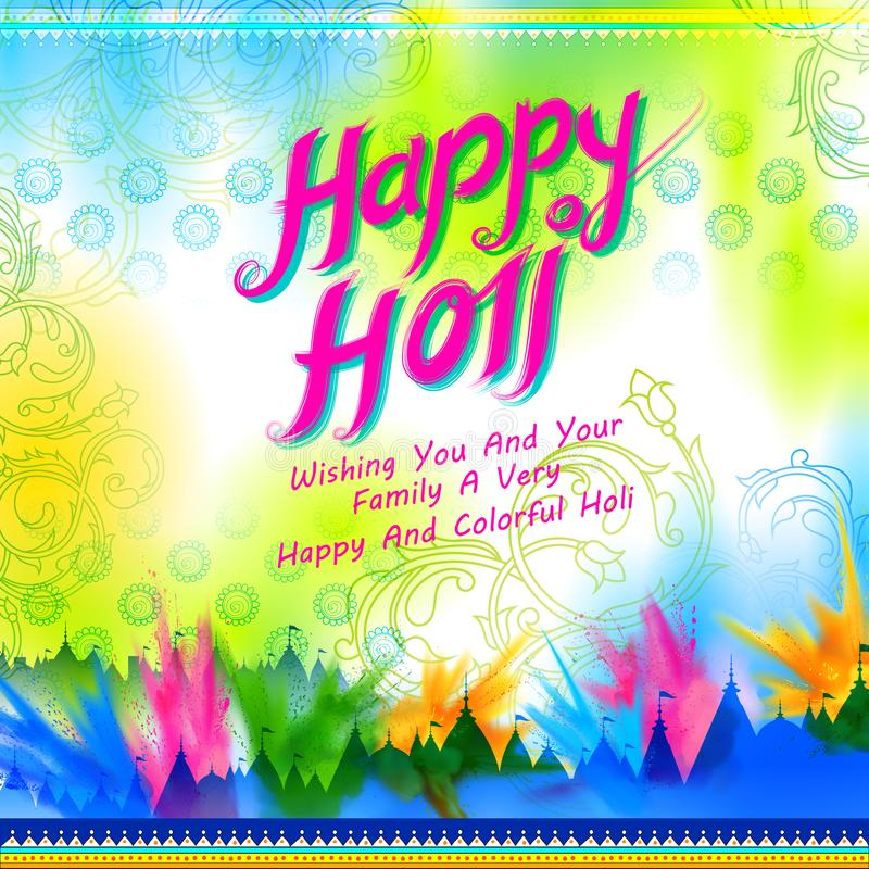 Powder color explosion for Happy Holi Background. Illustration of colorful gulal powder color on floor for Happy Holi Background royalty free illustration