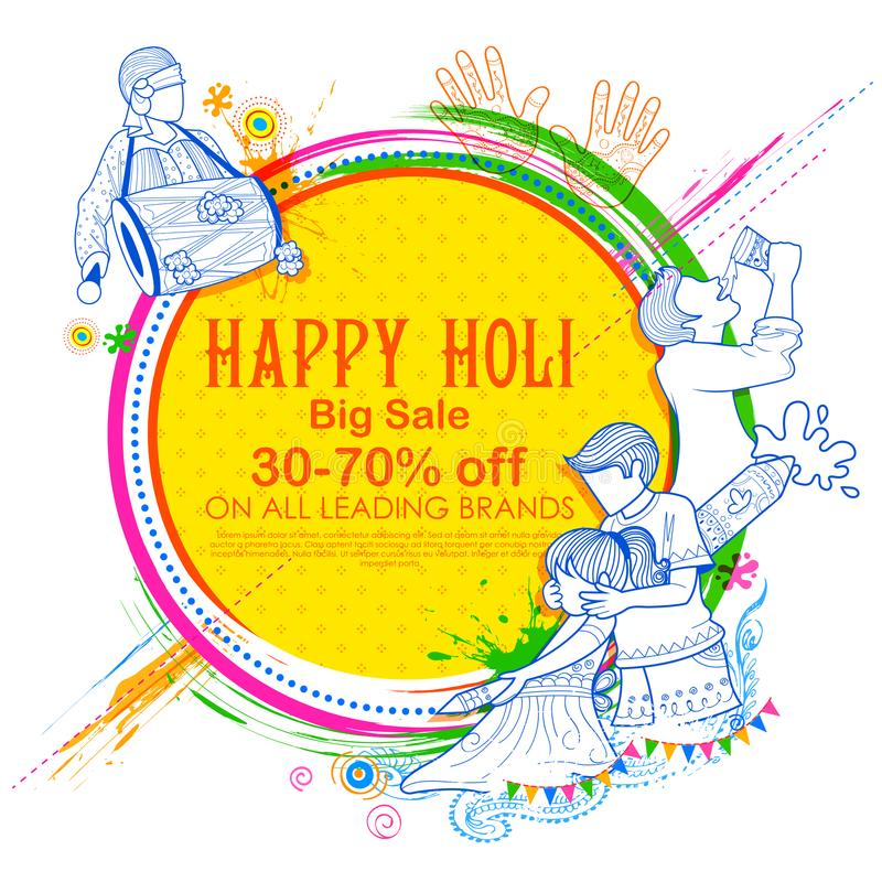 Happy Holi Advertisement Promotional background for Festival of Colors celebration greetings royalty free illustration