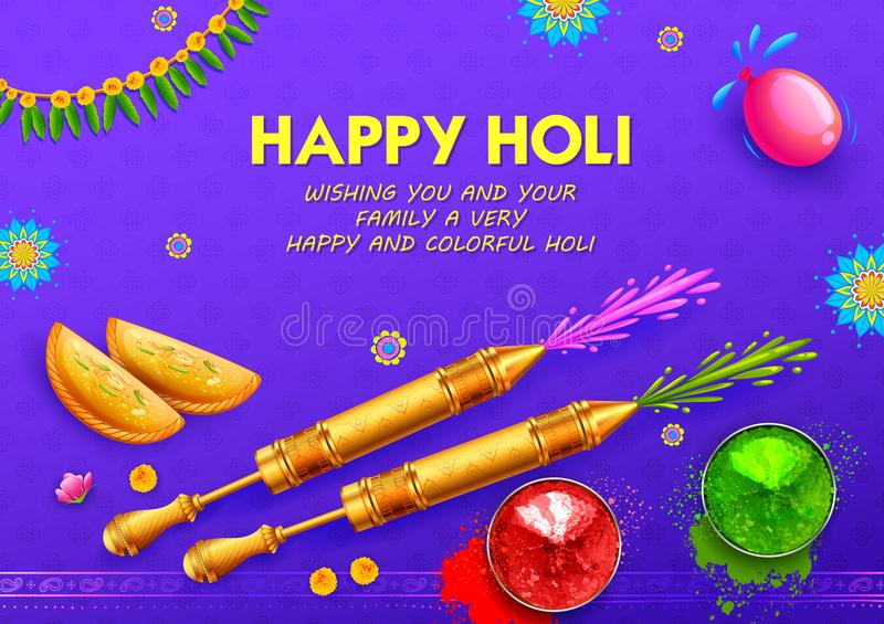 Happy Holi Background for Festival of Colors celebration greetings royalty free illustration
