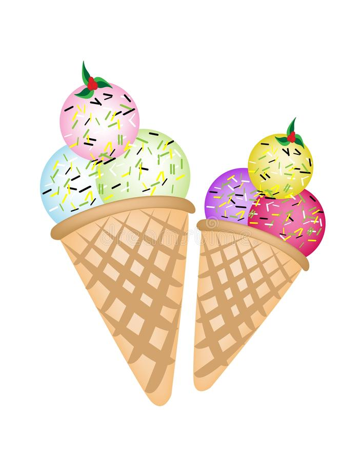 Download Triple Ice Cream Scoops On Two Cones Stock Vector - Illustration: 29783459