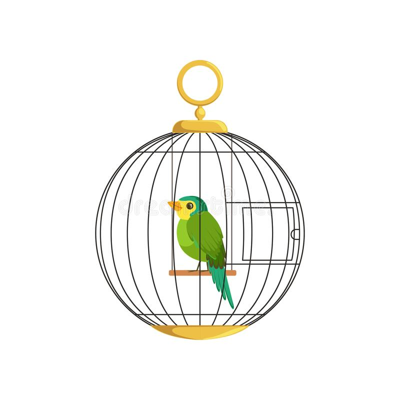 Illustration of colorful little bird in cage. Green singing finch. Hanging cell in round shape. Domestic canary. Flat vector illustration