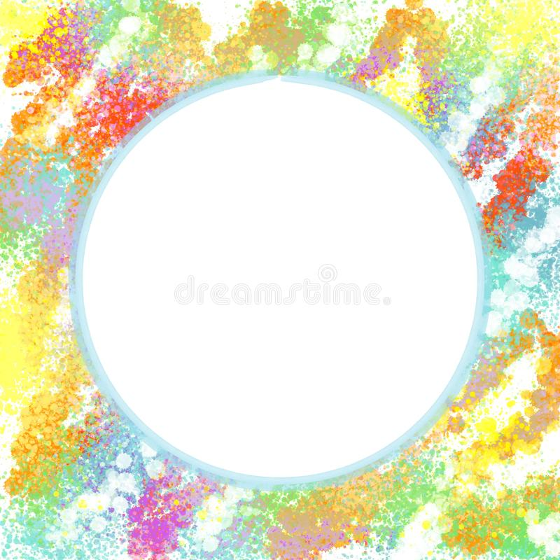 Illustration of Colorful Painted Background with White Circular Area at Center stock illustration