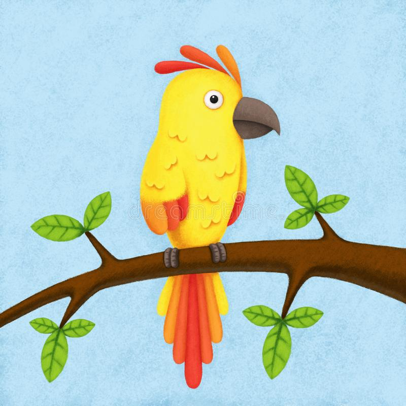 Illustration of the colorful parrot. Sitting on the branch for kids vector illustration
