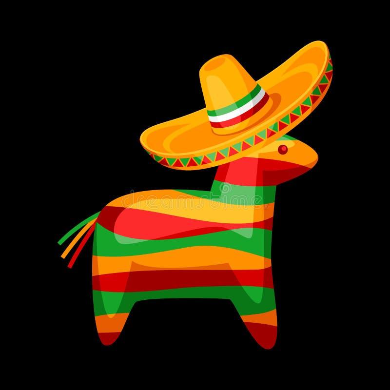 Illustration of colorful pinata in mexican sombrero. vector illustration