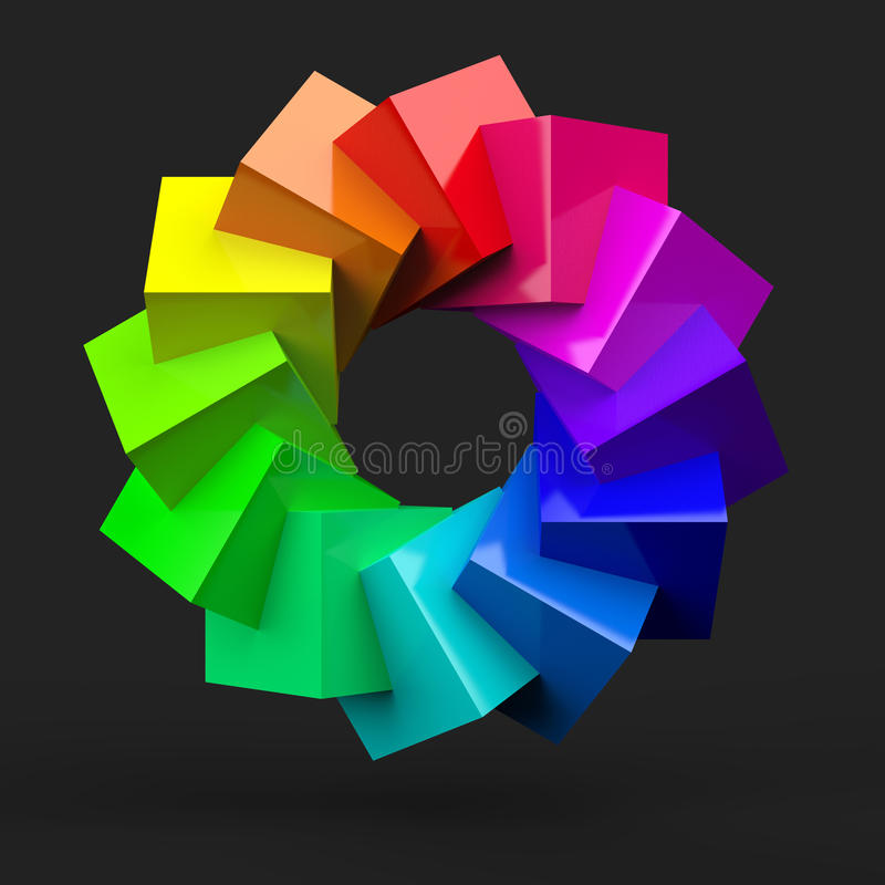 Colorful block spiral. An illustration of a colorful spiral made from blocks vector illustration