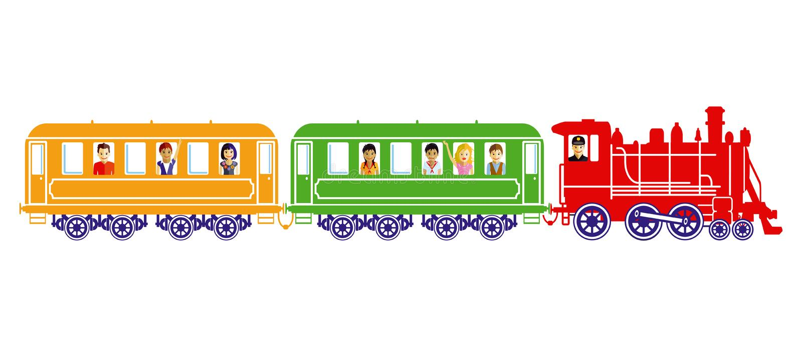 Toy train with children vector illustration