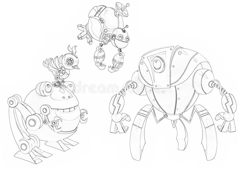 Illustration: Coloring Book Series: Robot Competition, the Fight Begins. stock illustration