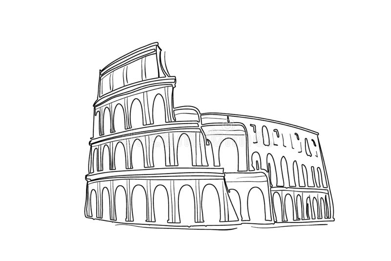 Illustration of Colosseum, architecture sketch on white background. Design, old, famous, italian, italy, europe, new, dark, black, line, art, element, trip royalty free stock photography