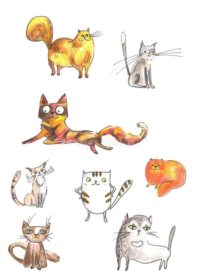 Illustration of Colour cat set for greeting card design, t-shirt print, inspiration poster vector illustration