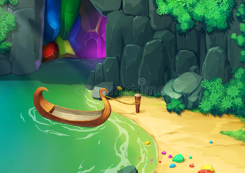 Illustration: Coming to the Gem Cave by a little boat. stock illustration