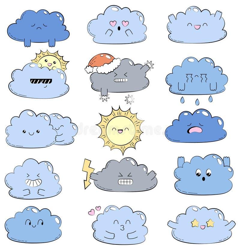 Illustration comique de griffonnage de bande dessinée avec les nuages mignons Différentes émotions Ramassage de graphismes de tem illustration libre de droits