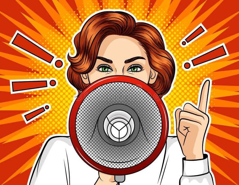 Illustration comique de style d'art de bruit de couleur d'une fille avec un haut-parleur illustration de vecteur