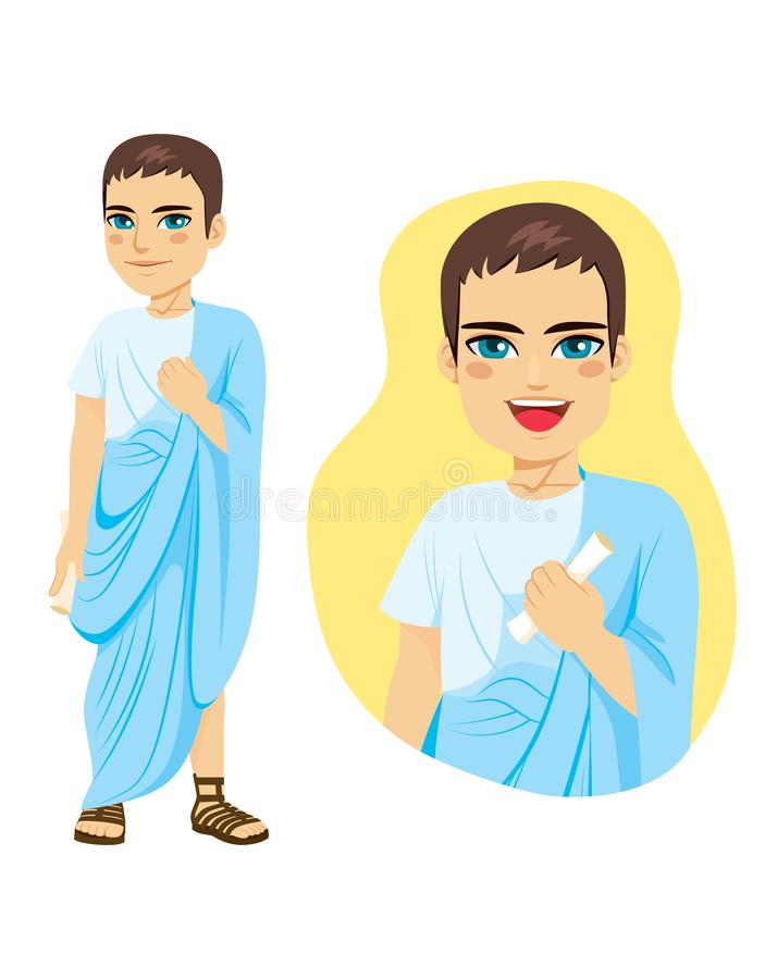 Commoner Roman Citizen. Illustration of commoner roman citizen standing with blue toga and holding papyrus vector illustration
