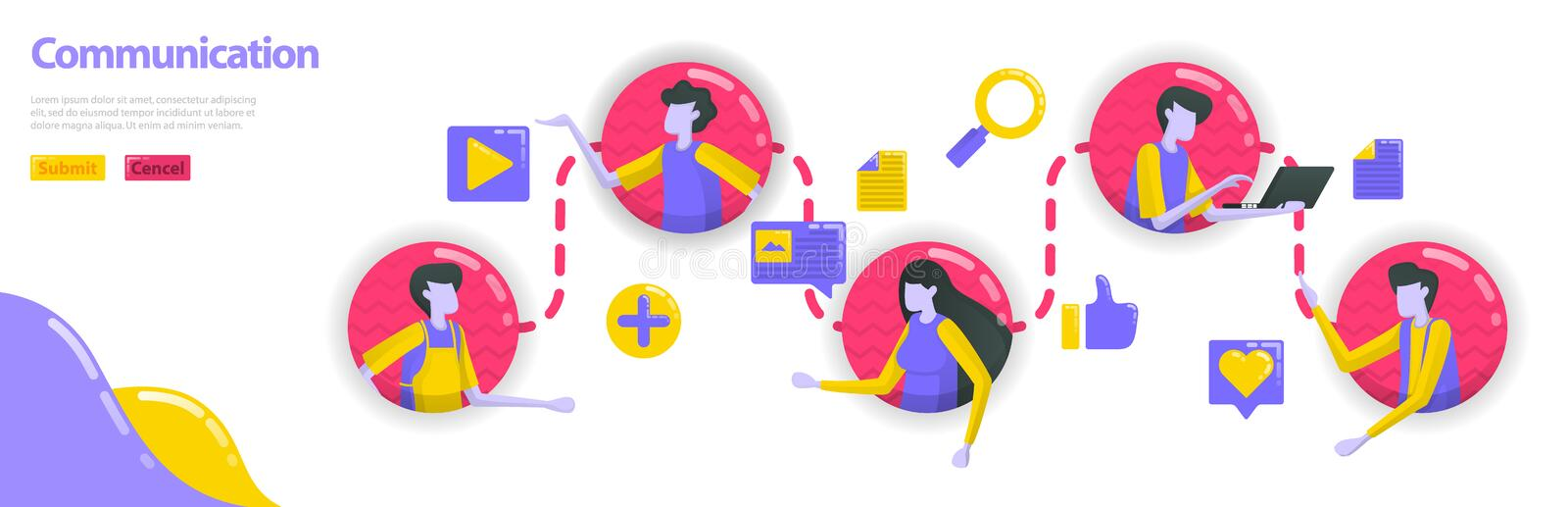 Illustration of communication. people are connected to each other in communication and community line. social media connects. People. Flat vector concept for vector illustration
