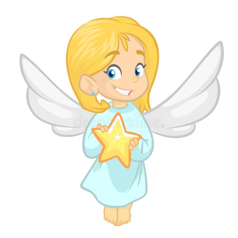 Illustration comportant une petite fille habillée comme ange Dessin animé de vecteur illustration stock