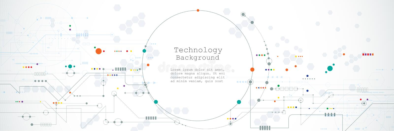 Illustration computer hardware, integrated circuit system design. Abstract hi-tech futuristic, science technology concept stock illustration
